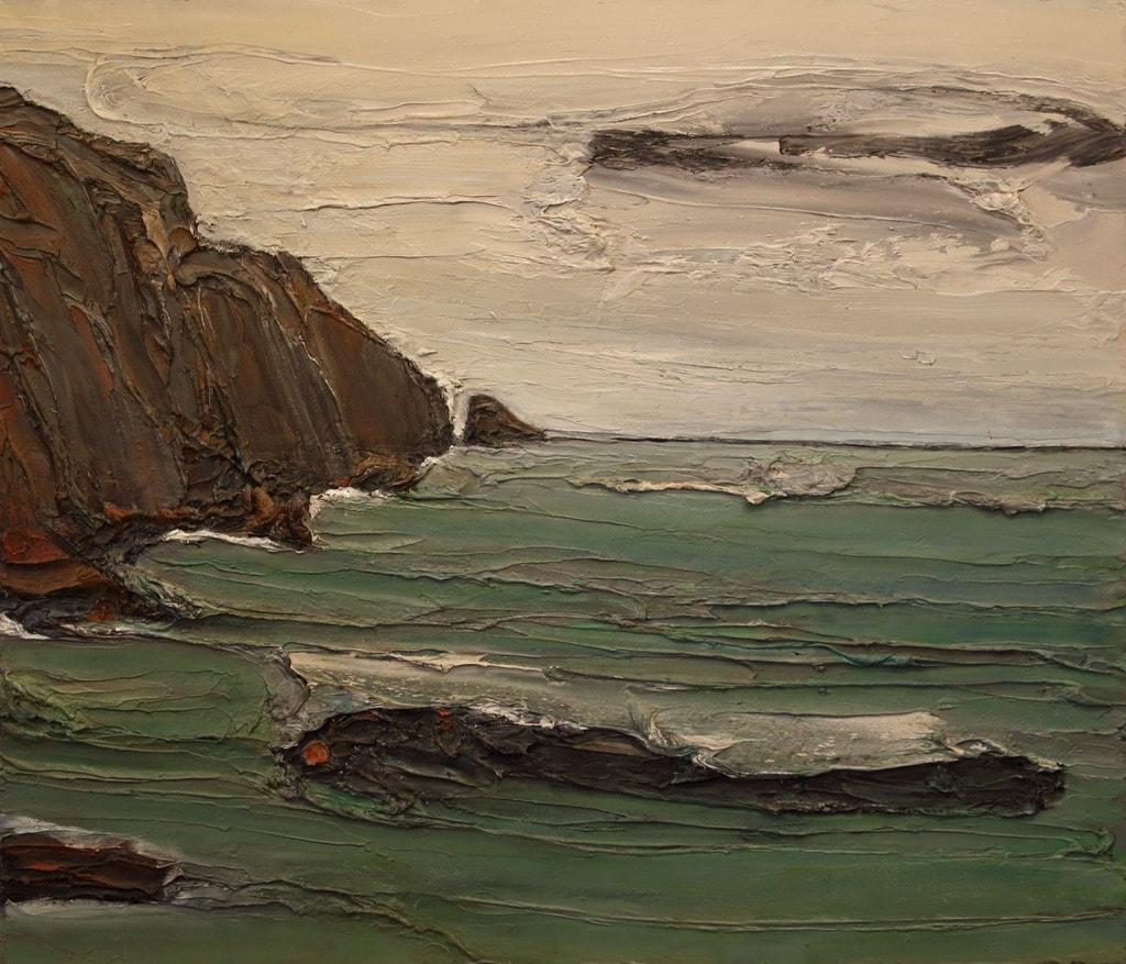 """Erminio Tansini, """"Baia di Monterosso al Mare"""", 2016, olio su tavola, 60x70 cm. © Erminio Tansini"""
