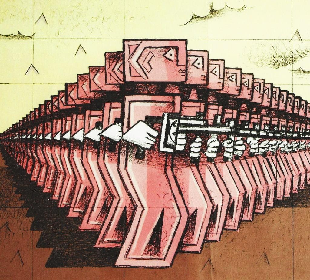 "Ibrahim Kodra, ""Esercito rosa"", 1982, litografia (particolare)"