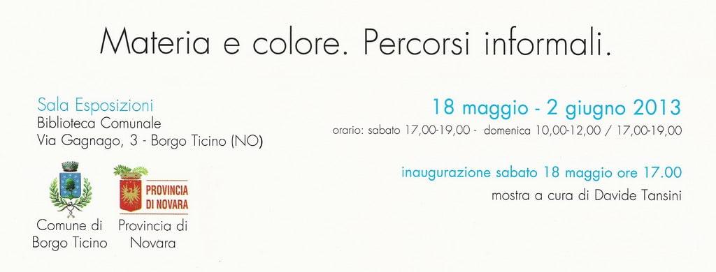 """Invito per la mostra di pittura """"Materia e colore. Percorsi informali"""" (Borgo Ticino, 2013). Particolare rielaborato. Archivio Davide Tansini"""