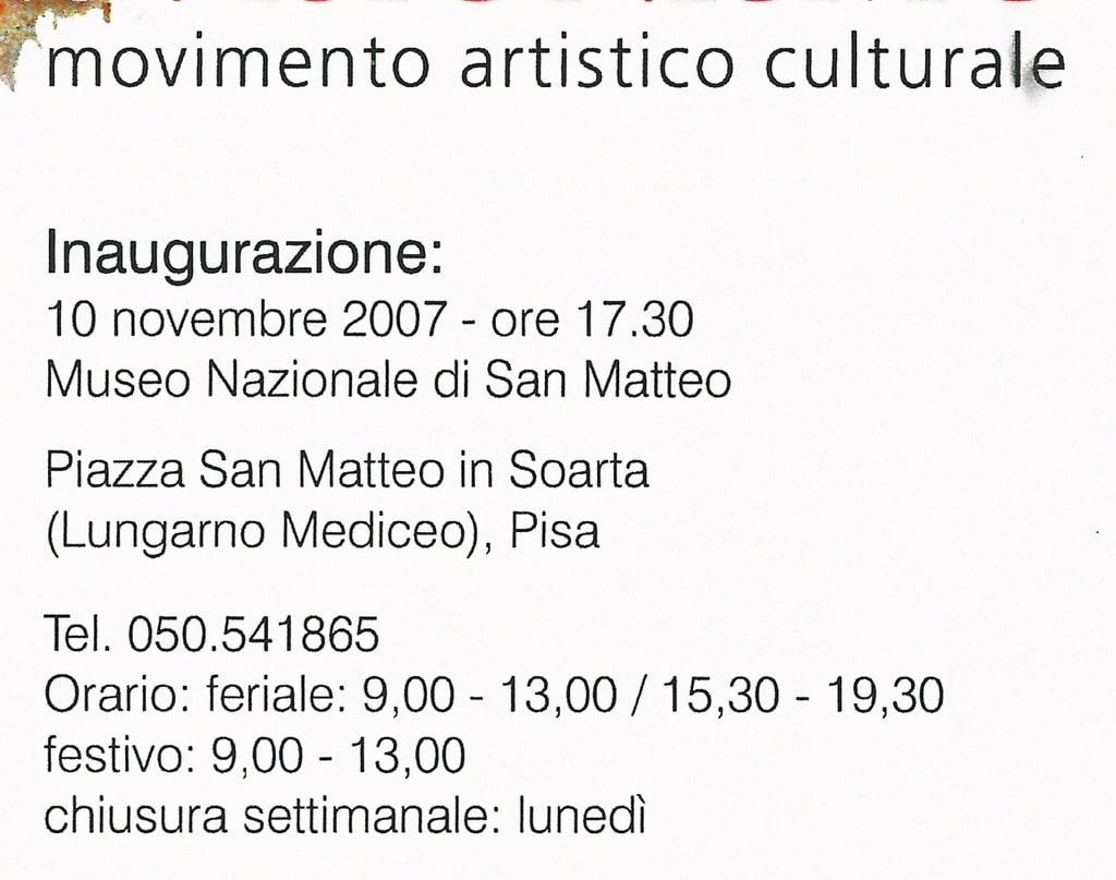 """Invito per la mostra di pittura e scultura """"Movimento artistico culturale"""" (Pisa, 2007). Particolare rielaborato"""